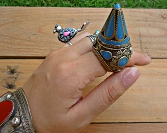 Turquoise ring-  Afghan ring- statement ring- Bedouin Afghan kuchi ring- Afghan dome ring- Gypsy ring- Stone ring- Stone inlay ring