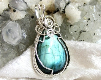 Labradorite Pendant, Pear Shape Wire Wrapped in Sterling Silver 935 Argentium Anti Tarnish