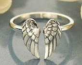 Sterling Silver Adjustable Wing Ring, Angel Wing Ring, Angel Ring, Silver Angel Ring, Sterling Silver Guardian Angel RIng