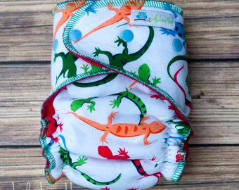"""Cozy Serged Hybrid Fitted Cloth Diaper- """"Lizards"""""""