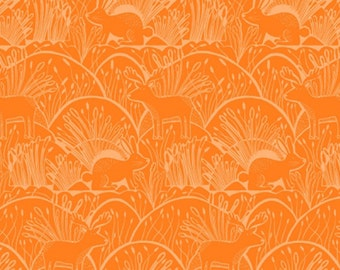 Dear Stella Fabric Woodland Etching On Orange Quilting Crafting Sewing 100% Cotton