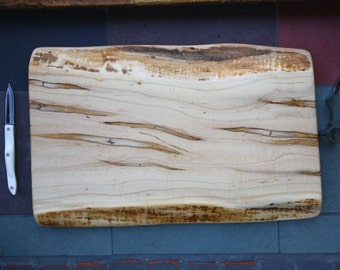 Large Ambrosia Maple Cutting Board with Live Edge- Thick Handcrafted Wood - Live Edge Wood Cutting Board 721