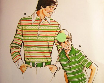 Vintage Kwik Sew Pattern 705 for Teens AND Junior Men: Pullover Rugby or Polo Shirt