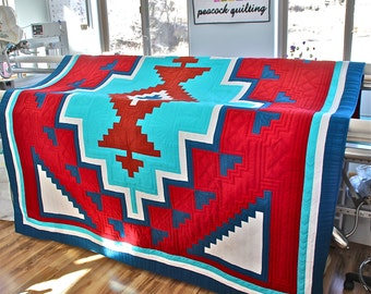 TWO GRAY HILLS native american southwestern quilt pattern by Michelle Watts - 3 sizes baby wall queen double lap throw Based on rug pattern