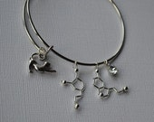 Biolojewelry - Dopamine and Serotonin Neurotransmitter Cat Lady Bangle Bracelet
