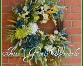 Extra Large Coastal Wreath in teal, green, yellow, white, beach sunrise, turquoise, blue
