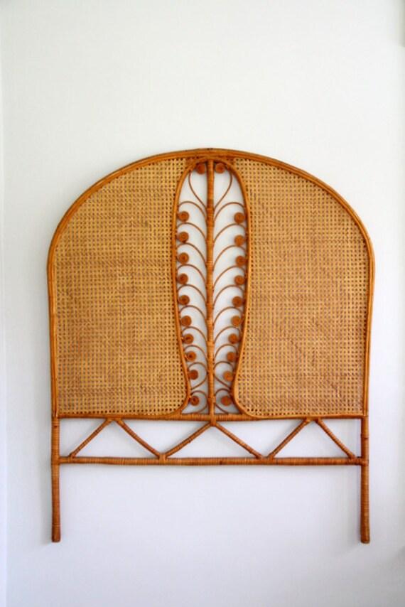 Vintage Rattan Wicker Headboard Peacock Feather Twin Single