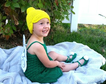 Crochet Fairy Costume Kelly Green Woodland Tinkerbell Inspired Costume Outfit Photo Prop