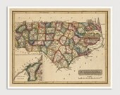 Old North Carolina Map Art Print 1817 Antique Map Archival Reproduction