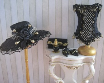 12th Scale Dollhouse Ladies Hat, Bag, Corset, Slippers and Perfume in Black & Gold Silk