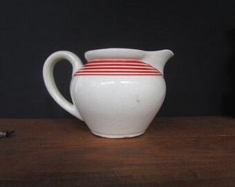 Art Deco Creamer Vintage Small White Creamer With Red Stripe