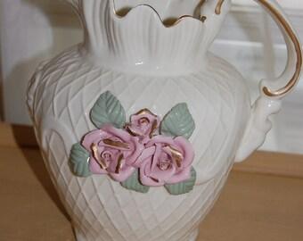 Vintage cream pink flower, porcelain, pitcher, ivory, large size