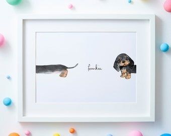 Personalised Cheeky Peekaboo Sausage Dog Illustrated Print