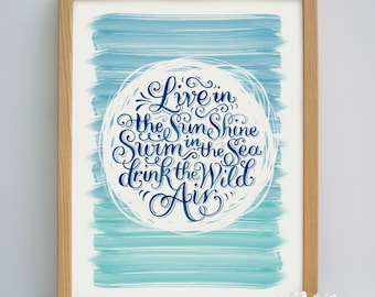 Swim in the Sea Print | Live in the Sun Print | Wild Air Quote Print