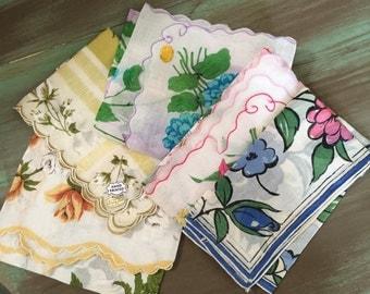Handkerchiefs / Vintage Floral Cotton Handkerchiefs Made in Japan & Phillipines New w/Tags