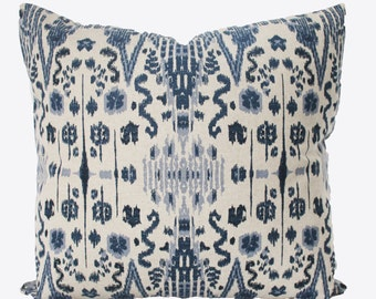 Decorative Designer Indigo Blue, Ikat Accent Pillow, Indian Blue 18x18, 20x20, 22x22 or Lumbar Throw Pillow