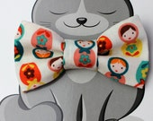 Russian Dolls Dog Bow Tie, Cat Bowtie, Slide on Collar Accessory, Pet Bowties, Handmade in Canada, Matryoshka, Teal, Coral, Stacking Dolls