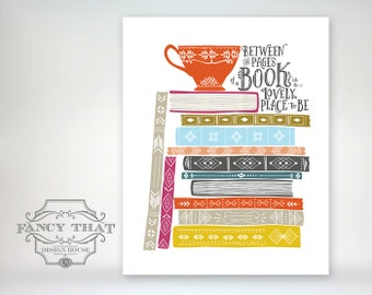 Book Stack. Book Lover Art. Tea Cup, Coffee Mug. Love to Read Gift. Home decor. Art Print. Colorful Wall Art. Wall Decor. Book quote