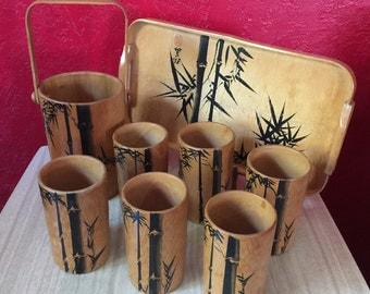 Vintage Bamboo Drink Set ~ 6 Cups, Serving Tray & Ice Bucket