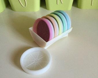 Tupperware Coasters ~ 6 Vintage Pastel Coasters in Caddy