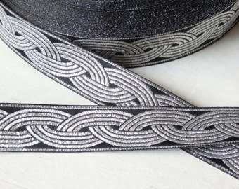 """Black and Silver trim with Celtic woven pattern - TWO yards, 25mm/1"""" black and silver trim, Renaissance trim, mediaeval style trim  - 2 yds."""