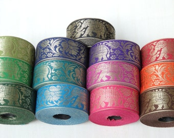 TWO yards of elephant & lotus flower Indian sari trim - Choose your colours! 40mm wide sari ribbon with metallic gold elephants and lotus