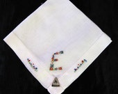 Initial E Handkerchief Unused Tag Herrman Hankerchief Letter E Monogrammed Monogram