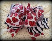 Valentine Hair Bow....Zebra Valentine Bow...Zebra Hair Bow...Zebra Hearts Bow...Red and Black Zeba Bow..Pink and Black Zebra