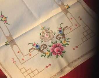 Vintage Cross Stitched Doiled