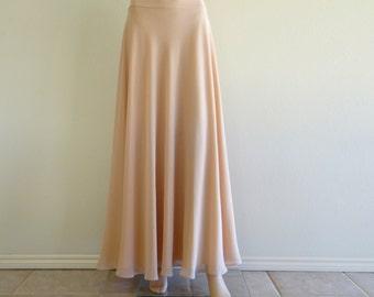 Tan Bridesmaid Skirt. Chiffon Maxi Skirt. Tan Full Skirt. Long Evening Skirt. Tan Floor Length Skirt.