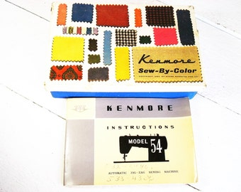 Vintage Kenmore Sew By Color Sewing Machine Accessories Kenmore Model 54 Instruction Manual