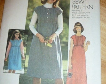 7610 Simplicity Size 12 Pattern How to Sew Pattern Misses Dress or Jumper in Two Lengths Vintage 1976 Uncut