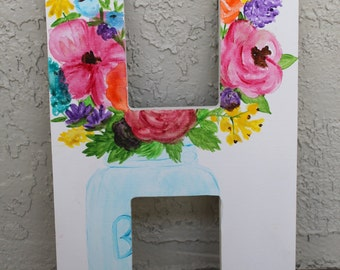 Watercolor Wildflowers // mason jar flowers // canvas letter 15 inches tall // MADE TO ORDER