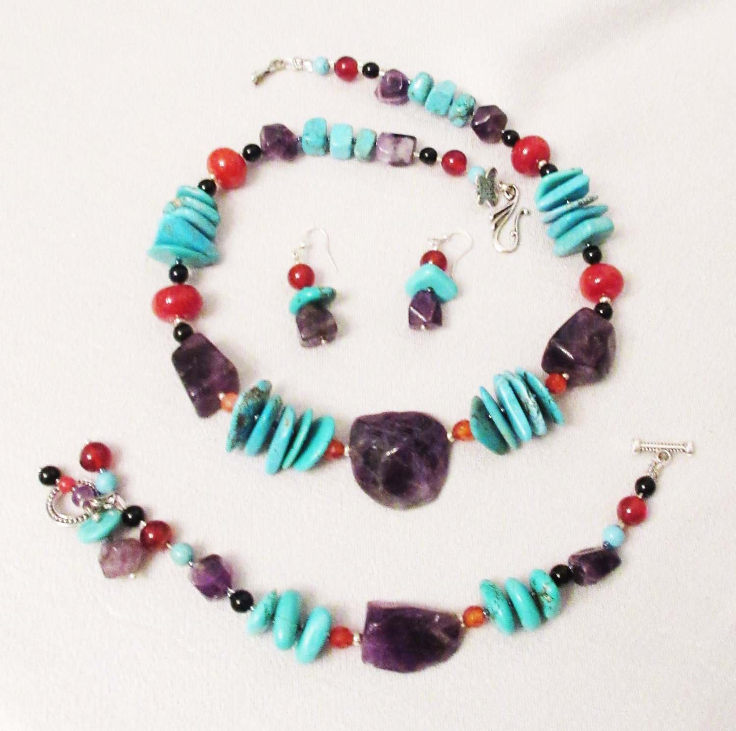 Turquoise and Carnelian Necklace Bracelet and Earring set