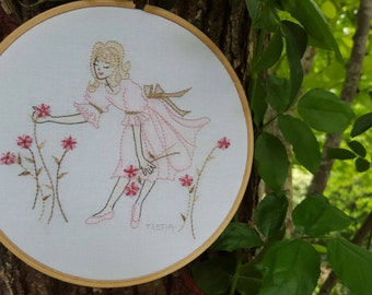 Hand Embroidered Girl Hand Embroidery Pattern & Instructions HOOP ART--needlecraft pattern