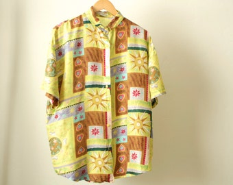 silk vintage yellow NEW AGE soft button up down sun moon SHIRT top