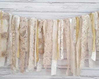 Cream and Gold Shabby Banner - Garland