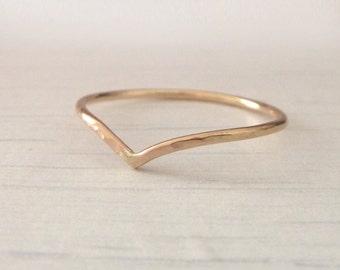 Rose Gold Wishbone Ring - Holly Wishbone - Skinny Wishbone Ring - 9ct Rose Gold