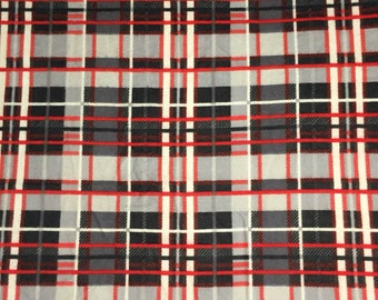 3 yds 30 in Red, Black, & Gray Plaid Flannel