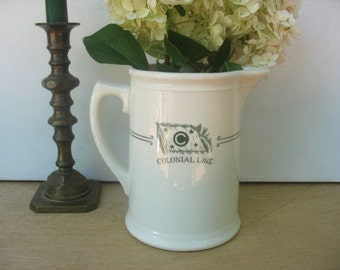 Colonial Line Steamship souvenir pitcher, Shipping Line Dining White China Water Pitcher, Farm House decor