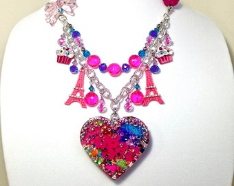 Sugar heart candy necklace, big sprinkles heart jewelry, candy resin statement necklace, big sprinkles charm necklace,  harajuku fashion