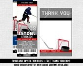 HOCKEY TICKET INVITATIONS Skate Birthday Party + Bonus Thank You Card (print your own) Personalized Printable Files - Any Color!