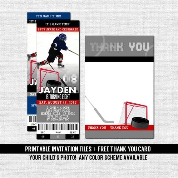 HOCKEY TICKET INVITATIONS Skate Birthday Party Bonus Thank – Hockey Party Invitations