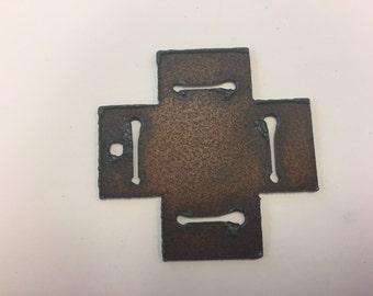 Rustic metal pendant, 1pc, around 55mm cross