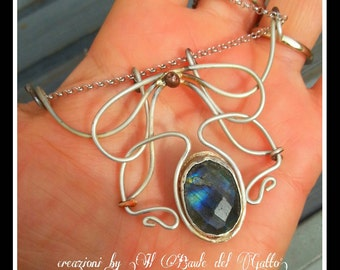 """Gift for woman. Art nouveau necklace in silver 925 and Labradorite stone, hand made """"Madame Nouveau"""""""