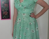 Vintage 1970's Upcycled Bright Mint Floral Dress - Size S/M
