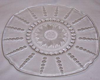 Federal Depression Crystal COLUMBIA 11 Inch CHOP or SANDWICH Plate