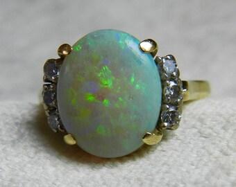 Opal Ring 3 Ct 14K Semi Black Opal Engagement Ring Australian Opal Ring 3 Ct Opal Ring Unique Engagement Ring October Birthstone Libra Gift