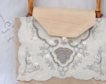 JOY! Tote, Vintage lace upcycled repurposed with Joy into a tote to hold your Joys! Cottage Chic, OOAK, Handbag