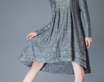 Linen tunic gray dress Loose-Fitting Long-Sleeved Round Neck Asymmetrical Dress with Tiered Pleated Hemline C810